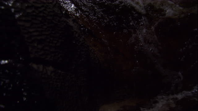 Tracking over a river running through a dark cave. Available in HD.