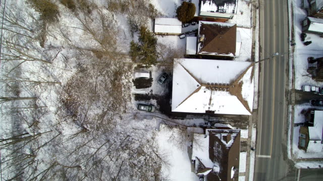 tracking over an old neighborhood from above - non urban scene stock videos & royalty-free footage