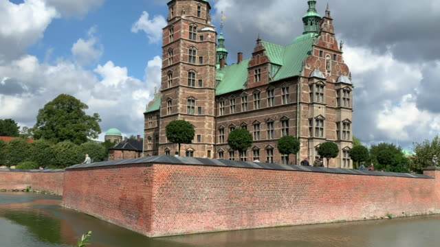 tracking rosenborg castle, moat and ramparts, copenhagen - moat stock videos & royalty-free footage