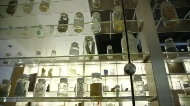 tracking shot across small glass bottles filled with various materials on glass shelving, uk. - display cabinet stock videos & royalty-free footage