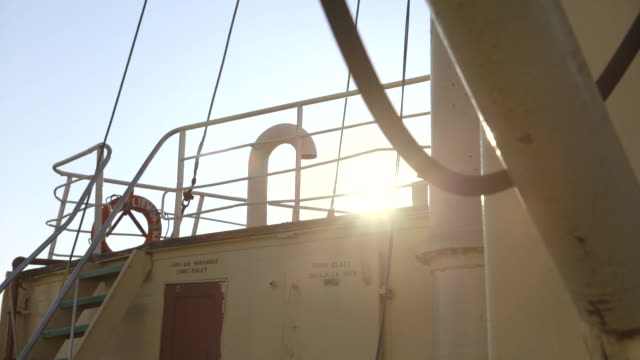 tracking shot across the deck of the liemba, a ferry on lake tanganyika. - life belt stock videos & royalty-free footage