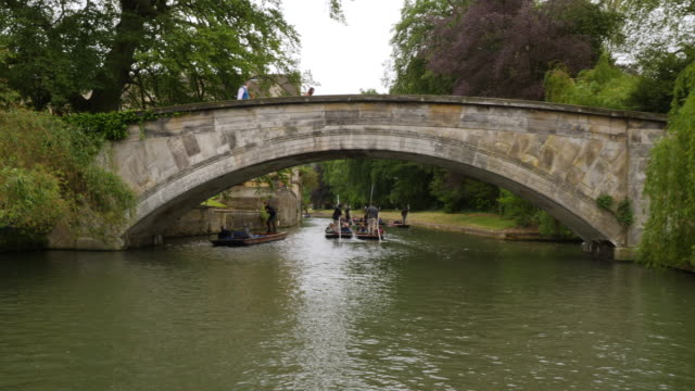 Tracking shot along the River Cam, panning back towards the King's College Backs, Cambridge.