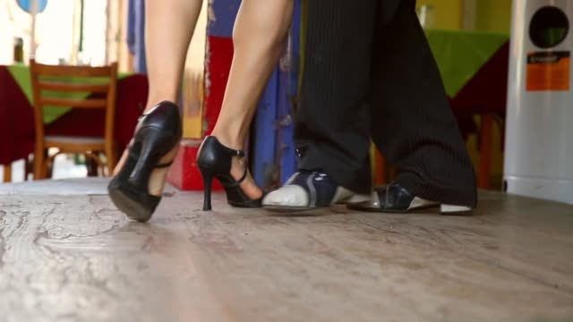 Tracking Shot Dancers perform a Tango at La Boca on September 11 2013 in Buenos Aires Argentina