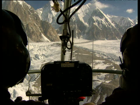 Tracking shot from helicopter cockpit over Siachen Glacier Kashmir