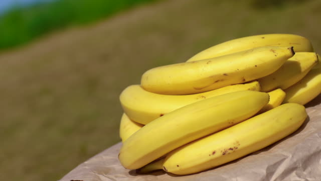 tracking shot moving slowly past bunches of bananas - potassium stock videos & royalty-free footage