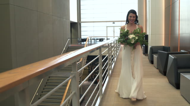 Tracking shot of a bride walking