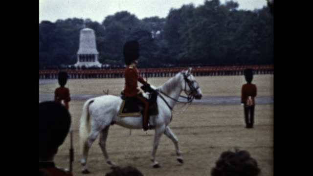 tracking shot of a british royal guard on a white horse - drill stock videos & royalty-free footage