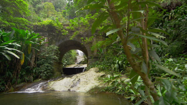tracking shot of a jungle stream and waterfall as seen through a stone bridge - arch bridge stock videos & royalty-free footage