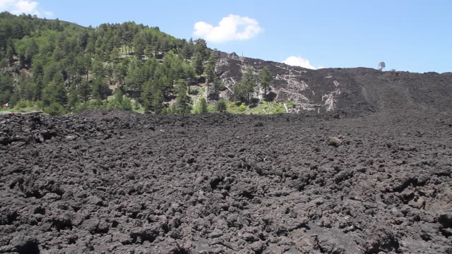Tracking shot of a lava flow on the slopes of Mount Etna, Sicily