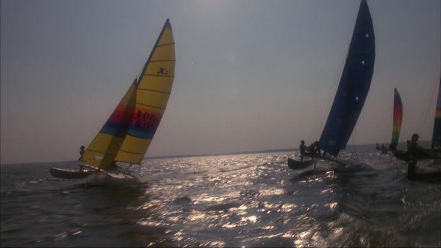 tracking shot of a sailing race in open water. - 双胴船点の映像素材/bロール