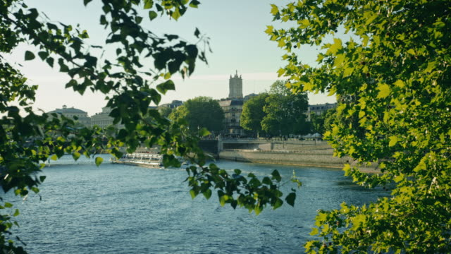 Tracking shot of banks of the Seine river, île Saint-Louis, boat passing in the background