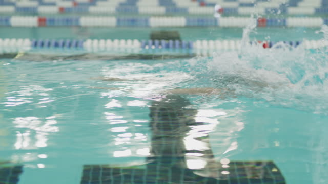 vídeos de stock e filmes b-roll de tracking shot of boy swimming breaststroke in swimming pool / provo, utah, united states - provo