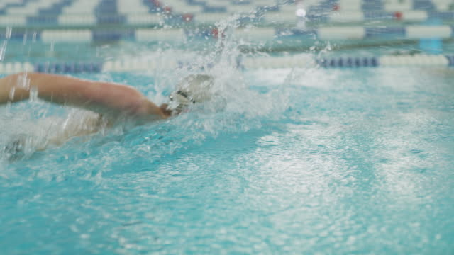 vídeos de stock e filmes b-roll de tracking shot of boy swimming freestyle in swimming pool / provo, utah, united states - provo