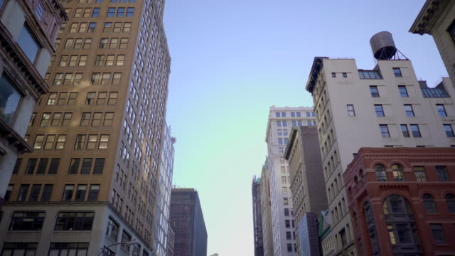 tracking shot of city residental district in new york city