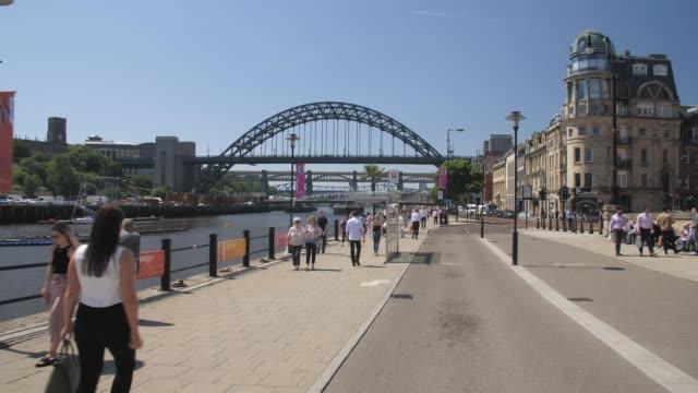 Tracking shot of Hadrian Wall Path along River Tyne, Newcastle-upon-Tyne, Tyne and Wear, Tyneside, England, Europe