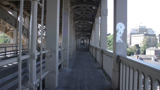 tracking shot of high level bridge, newcastle-upon-tyne, tyne and wear, tyneside, england, europe - tyne bridge stock videos & royalty-free footage