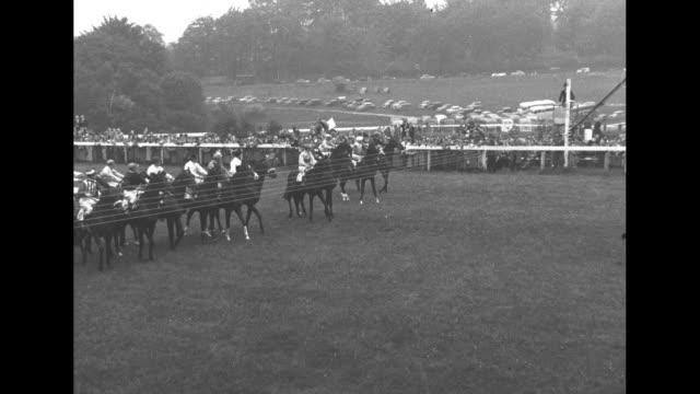 tracking shot of horses running in epsom derby / high angle shot of epsom downs racecourse / people around paddock / princess elizabeth and prince... - 競走馬点の映像素材/bロール