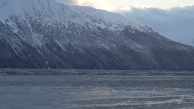 Tracking shot of ice river