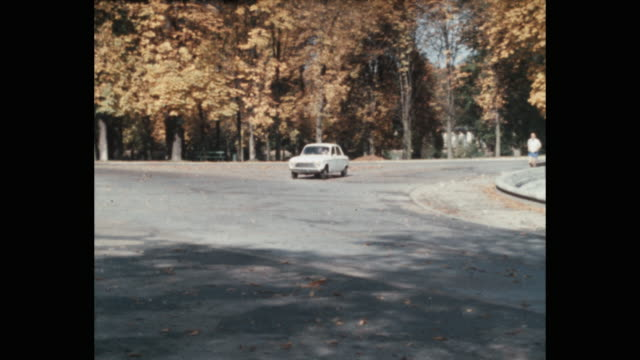 tracking shot of man driving car on road in park during autumn, bois de boulogne, paris, france, europe - france stock videos & royalty-free footage