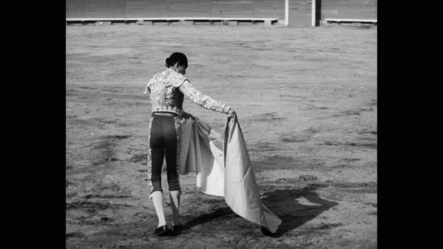 1951 tracking shot of matador fighting with bull in bullring - one animal stock videos & royalty-free footage