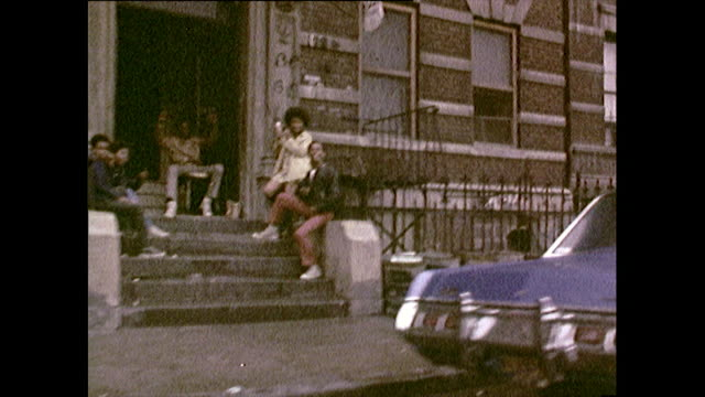 tracking shot of new york residential street; 1972 - deterioration stock videos & royalty-free footage