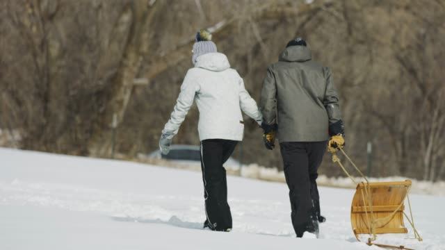 tracking shot of rear view of couple pulling toboggan uphill in winter snow / south fork, utah, united states - cappotto invernale video stock e b–roll