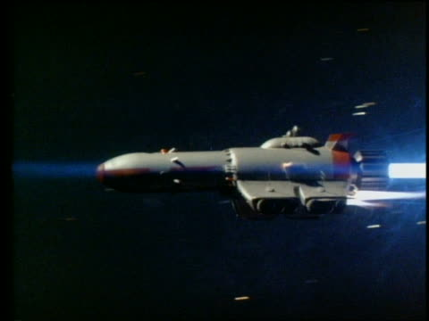 tracking shot of rocket flying through outer space
