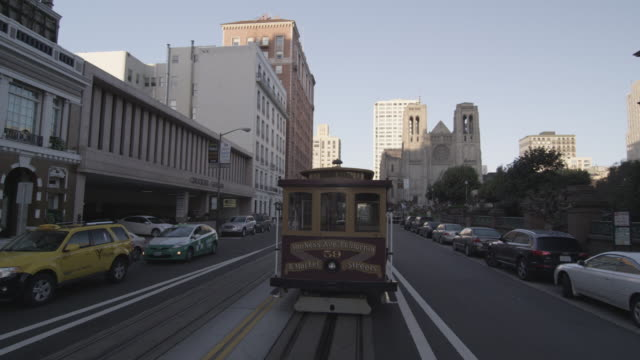 Tracking Shot of San Francisco Trolly by Grace Cathedral