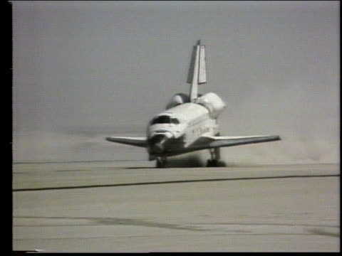 tracking shot of Space Shuttle Columbia landing