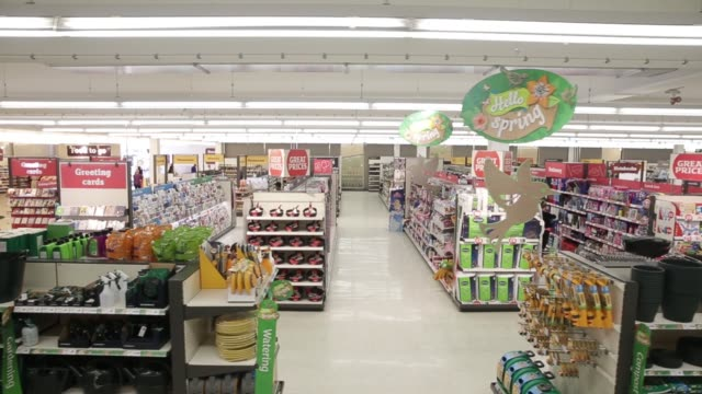 vídeos de stock e filmes b-roll de tracking shot of the aisles inside a sainsburys supermarket store operated by j sainsbury plc in the wandsworth district of london uk on wednesday... - sainsburys