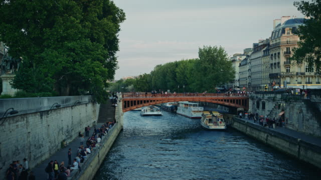 vidéos et rushes de tracking shot of the banks of the seine river - dolly shot
