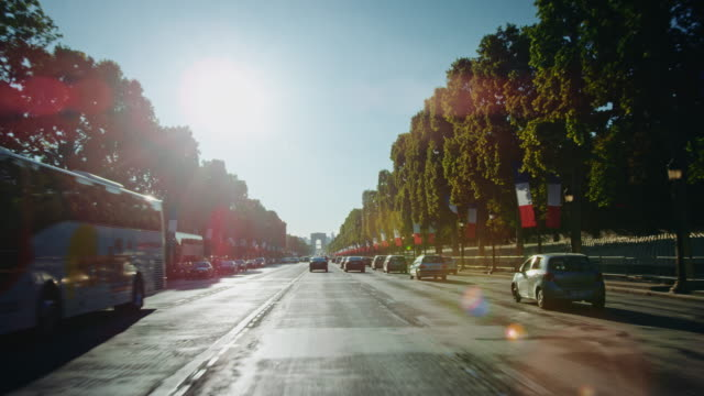 Tracking shot of the Champs-Elysées avenue, french flags decorated