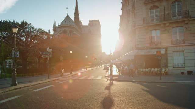 Tracking shot of the east side of Notre-Dame de Paris at sunset