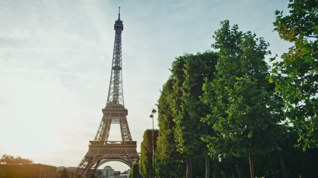 tracking shot of the eiffel tower as seen from the champ-de-mars at sunset - エッフェル塔点の映像素材/bロール