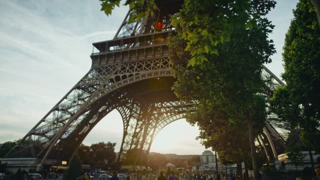 Tracking shot of the Eiffel tower as seen from the Champ-de-Mars at sunset