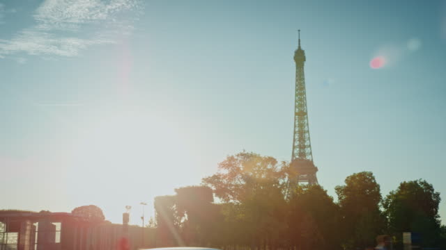 Tracking shot of the Eiffel tower as seen from the Champ-de-Mars