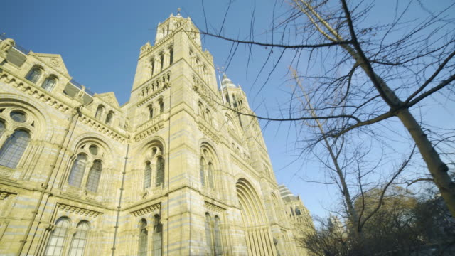 tracking shot of the exterior of the natural history museum in london - victorian stock videos & royalty-free footage
