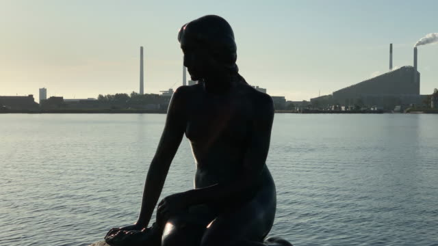 tracking shot of the little mermaid in copenhagen - literature stock videos & royalty-free footage