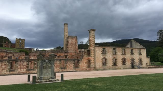 4k tracking shot of the penitentiary, port arthur historic site - crime stock videos & royalty-free footage