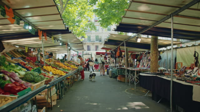 tracking shot of the place monge street market, mouffetard area - market stall stock videos & royalty-free footage