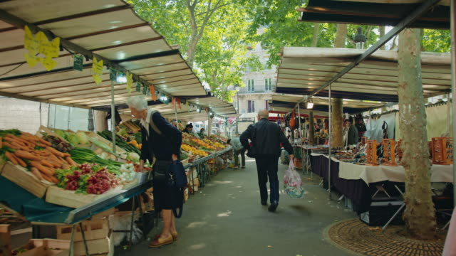 Tracking shot of the Place Monge street market, Mouffetard area
