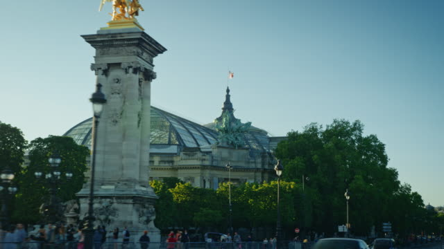 Tracking shot of the Pont Alexandre III and Grand Palais