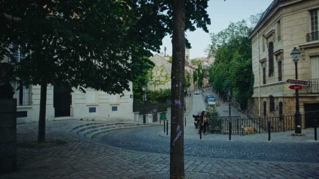 Tracking shot of typical Montmartre streets