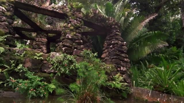 vídeos de stock e filmes b-roll de tracking shot overlooking a stone columned structure in the jardim botanico, rio - 2013