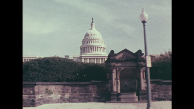 tracking shot past the capitol building in 1978 - american politics stock videos & royalty-free footage