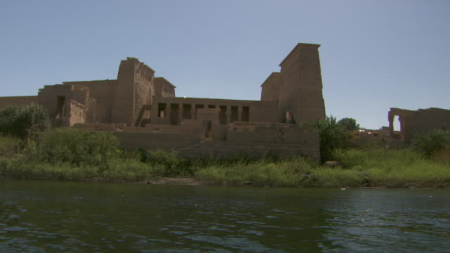 Tracking shot past the Temple of Isis on Agilkia Island on Lake Nasser.