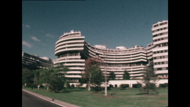 tracking shot past the watergate complex; 1976 - richard nixon stock videos & royalty-free footage