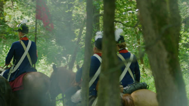 tracking shot of four horsemen riding among trees - bridle stock videos & royalty-free footage