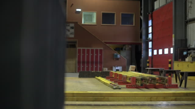 tracking shot revealing empty fabrication workshop - b roll stock videos & royalty-free footage