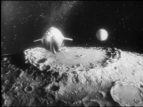 B/W tracking shot rocket (model) flying around curve of moon with Earth in background
